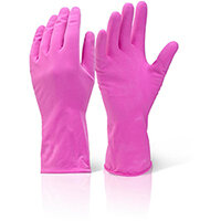 Click2000 Household Medium Weight Rubber Gloves Pink Size S Pack of 10 Pairs Ref HHMWPS