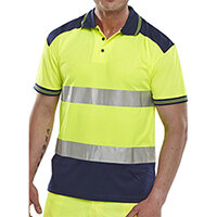 B-Seen Hi-Vis Polyester Two Tone Polo Shirt Size 3XL Saturn Yellow & Navy Blue Ref CPKSTTENSYXXXL