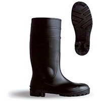 B-Dri Footwear Budget Semi Safety PVC Wellington Boots Size 9 (43) Black - Steel Midsole, Various Chemical Resistant, Oil Resistant Outsole, 100% Waterproof Ref BBSSB09