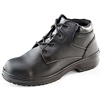 Click Footwear Ladies Chukka Boots PU/Leather Size 3 (36) Black - Steel Toe Cap & Midsole Protection, Shock Absorber Heel, Anti-static, Slip Resistant Ref CF14BL03