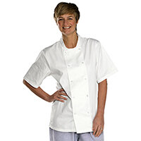 Click Workwear Short Sleeve Chefs Jacket Size L White Ref CCCJSSWL