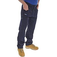 Click Workwear Work Trousers 40 inch Waist with Short Leg Navy Blue Ref AWTN40S