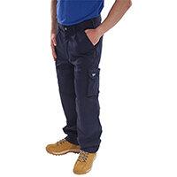 Click Traders Newark 320gsm Cargo Work Trousers 30 inch Waist with Regular Leg Navy Blue Ref CTRANTN30