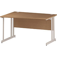 Wave Double Cantilever White Leg Left Hand Office Desk Oak W1400mm