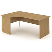 L-Shaped Corner Left Hand Panel End Office Desk Oak W1600mm