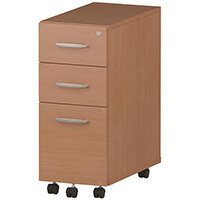 Tall Slimline 3 Drawer Under Desk Mobile Pedestal Beech