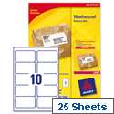 Avery L7992-25 Weatherproof Shipping Labels Laser 10 per Sheet 99.1x57mm White 250 Labels