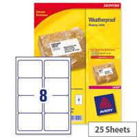 Avery L7993-25 Weatherproof Shipping Laser Labels 8 per Sheet 99.1x67.7mm 200 Labels