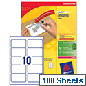 Avery L7173B-100 Block Out Shipping Labels 10 per Sheet 99.1x57mm 1000 Labels