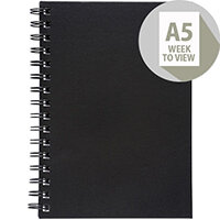 5 Star Office 2020 Diary Week to View Wirobound Vinyl Coated Board A5 210x148mm Black