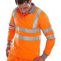 B-Seen Long Sleeved Hi-Vis Polo Shirt EN ISO20471 Size S Orange Ref BPKSLSENORS