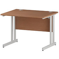 Rectangular Double Cantilever White Leg Office Desk Beech W1000xD800mm