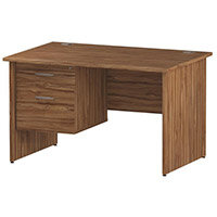 Rectangular Panel End Office Desk With Fixed 2 Drawer Pedestal Walnut W1200xD800mm