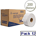 Scott Mini Jumbo White Toilet Tissue Dispenser Roll Pack of 12 8614