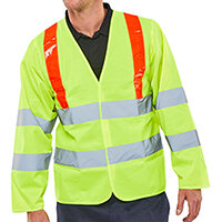 B-Seen High Visibility Long Sleeved Jerkin Size XL Saturn Yellow & Red Shoulder Tape Ref PKJENG(RT)XL