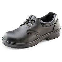 Click Footwear Ladies Work Shoes PU/Leather Steel Toecap Size 2 (35) Black - Steel Toe Cap & Midsole Protection, Shock Absorber Heel, Anti-static, Slip Resistant Ref CF13BL02