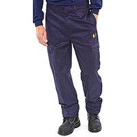 Click Fire Retardant Work Trousers 300g Cotton 30 inch Waist with Regular Leg Navy Blue Ref CFRTN30