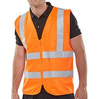 Click Fire Retardant Hi-Vis Waistcoat Polyester Vest Size 2XL Orange Ref CFRWCORXXL
