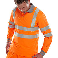 B-Seen Long Sleeved Hi-Vis Polo Shirt EN ISO20471 Size XL Orange Ref BPKSLSENORXL