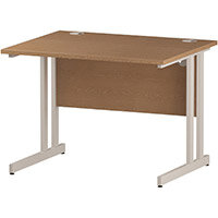 Rectangular Double Cantilever White Leg Office Desk Oak W1000xD800mm