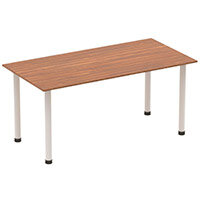 Modular Rectangular Table Walnut with Silver Tubular Steel Frame W1600xD800mm