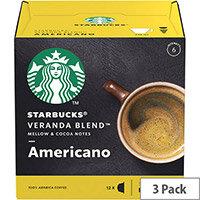 STARBUCK Blonde Veranda Americano Capsule for Dolce Gusto Machine 12397698 Pk 36 (3x12 Capsule=36 Drinks)