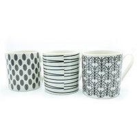 Squat Mugs Patterned 12oz Black & White Ref 0399290 Pack of 12