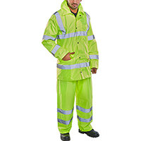 B-Seen Hi-Vis Lightweight Protective Coverall Work Suit - Jacket & Trousers EN ISO 20471 EN 343 Size L Saturn Yellow Ref TS8SYL