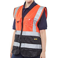 B-Seen Executive Two Tone High Visibility Waistcoat Vest Size 2XL Red & Black Ref HVWCTTREBLXXL