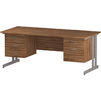 Rectangular Double Cantilever Silver Leg Office Desk With 2 Fixed Pedestals 3/2 Drawer Walnut W1800xD800mm