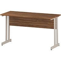 Rectangular Double Cantilever White Leg Return Office Desk Walnut W1400xD600mm