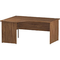 L-Shaped Corner Left Hand Panel End Office Desk Walnut W1600mm