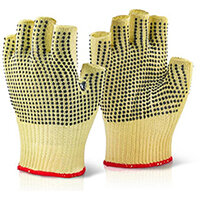 Click Kutstop Kevlar Fingerless Dotted Work Gloves Yellow Size L (9) Pack of 10 Pairs Ref KFLGMWD09