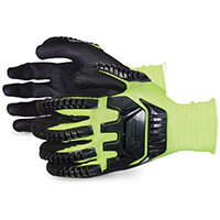 Superior Glove Dexterity Hi-Vis Anti-Impact Black Widow 10 Yellow Ref SUS13YPNVB10