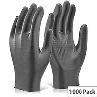 Glovezilla Nitrile Disposable Gripper Gloves Black M Pack of 1000 Ref GZNDG10BLM