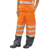 B-Seen Belfry Over Trousers Polyester High Visibility Size L Orange & Navy Blue Ref BETORNL