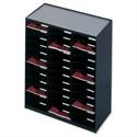 Mailroom Sorter Plastic Stackable 36x A4 Compartments Black Paperflow Modulodoc