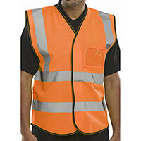 B-Seen High Visibility Waistcoat Vest with ID Pocket Size S Orange Pack of 10 Ref BD108ORS