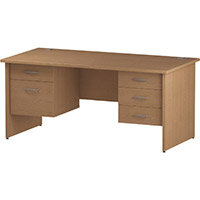 Rectangular Panel End Office Desk With 2 Fixed Pedestals 3/2 Drawer Oak W1600xD800mm