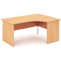 L-Shaped Corner Right Hand Panel End Office Desk Beech W1600mm
