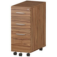 Tall Slimline 3 Drawer Under Desk Mobile Pedestal Walnut
