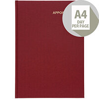 5 Star Office 2020 Appointment Diary Day to Page Casebound and Sewn Vinyl Coated Board A4 297x210mm Red