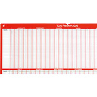 5 Star Office 2020 Day Planner Mounted Landscape with Planner Kit 915x610mm Red