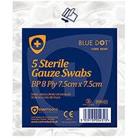 Click Medical Blue Dot 7.5 x 7.5cm Sterile Gauze Swabs Pack of 5 Ref CM0453