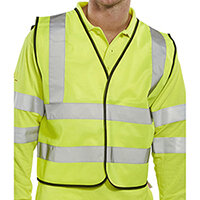 B-Seen High Visibility Short Waistcoat APP G Polyester Vest Size L Saturn Yellow Ref WCENGSHL