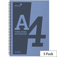 Silvine A4 Notebook Wirebound Polypropylene 60gsm 160pp Assorted Pack of 5