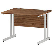 Rectangular Double Cantilever White Leg Office Desk Walnut W1000xD800mm