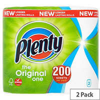 Plenty The Original One Double Kitchen Paper Towel Rolls 200 Sheets per Roll Pack of 2
