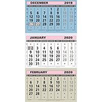 At-A-Glance 2020 Wall Calendar Three Months to View Board Binding 300x595mm Assorted Ref TML 2020