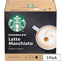 STARBUCKS Latte Macchiato Capsule for Dolce Gusto Machine Ref 12397696 Pack 36 (3x12 Capsule=18 Drinks)